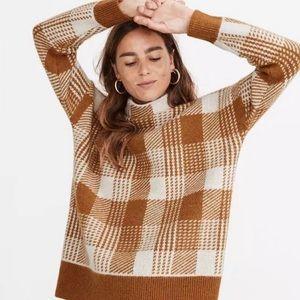 Madewell Sweater+Plaid+Merino Wool blend+ Sz XXS